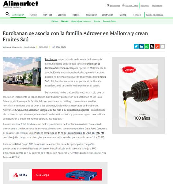 Eurobanan se asocia con la familia Adrover en Mallorca y crean Fruites Saó