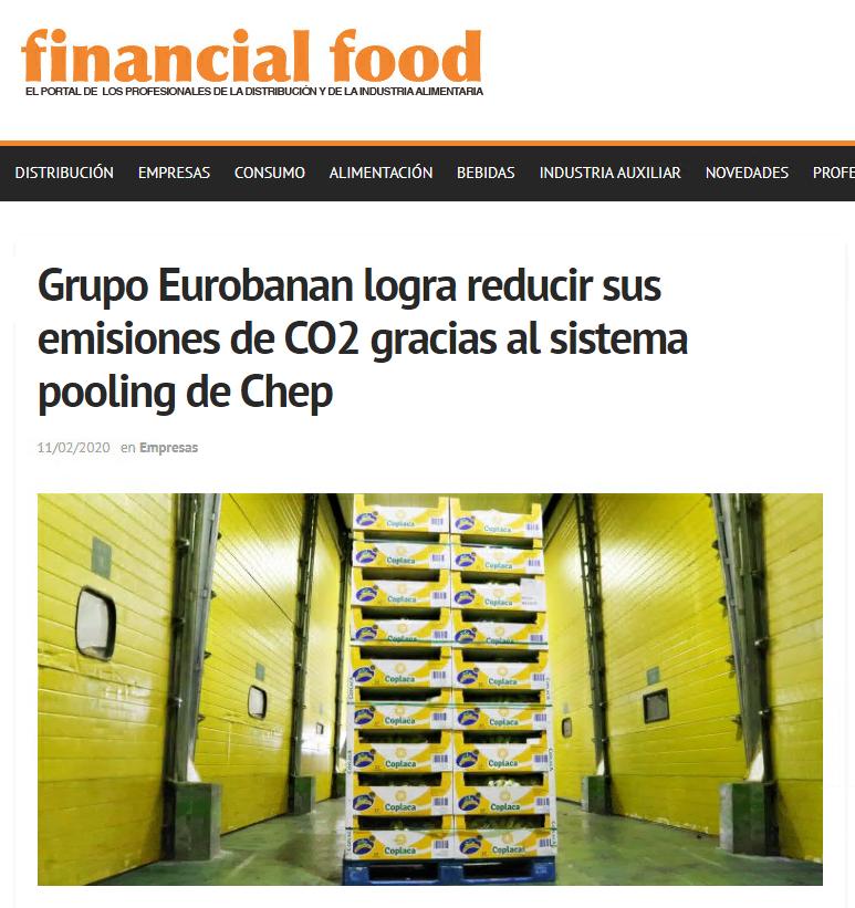 Grupo Eurobanan apareció en Financial food entre otros medios con su nota de prensa sobre la reducción de emisiones gracias al sistema pooling CHEP